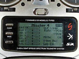 Spektrum Senderprogrammierung. Ansicht Display Teil 4