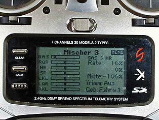 Spektrum Senderprogrammierung. Ansicht Display Teil 7