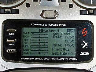 Spektrum Senderprogrammierung. Ansicht Display Teil 5