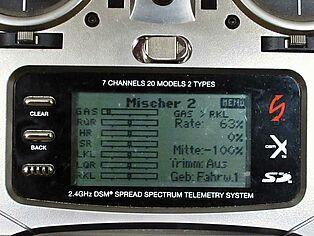 Spektrum Senderprogrammierung. Ansicht Display Teil 6
